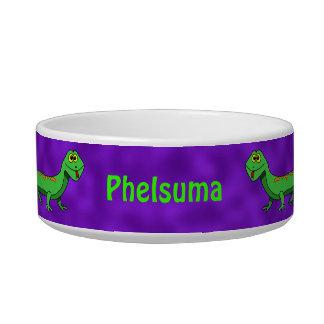 Cute Green Lizard Purple Custom Name Pet Bowl Cat Food Bowls