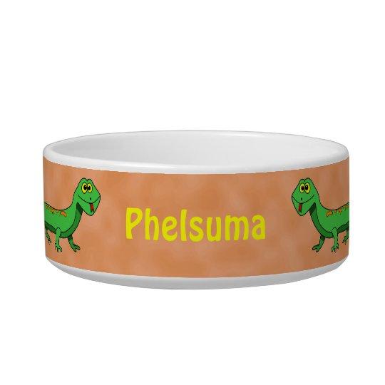 Cute Green Lizard Reptile Custom Name Pet Bowl
