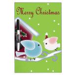 Cute green mistletoe love birds christmas Dry-Erase boards