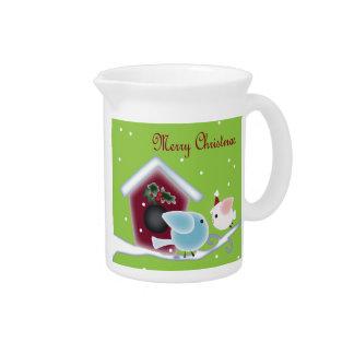 Cute green mistletoe love birds christmas drink pitchers