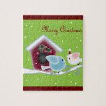 Cute green mistletoe love birds christmas puzzles