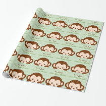 Cute Green Monkey Baby Shower Wrapping Paper