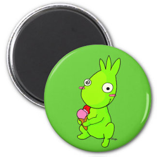 Cute green monster 2 inch round magnet