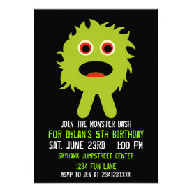Cute Green Monster Birthday Party Invitations