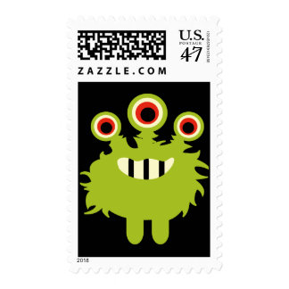 Cute Green Monster Birthday Party Postage Stamps