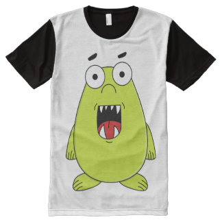 Cute green monster All-Over print t-shirt