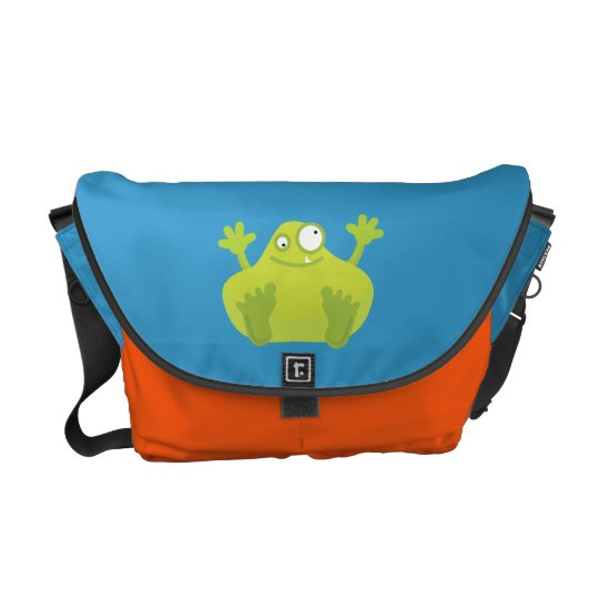 Cute Green Monster Messenger Bag