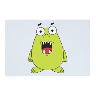 Cute green monster placemat