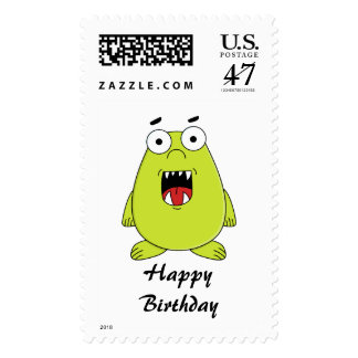 Cute green monster postage