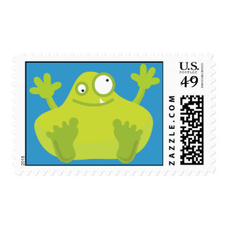 Cute Green Monster Postage Stamps (MEDIUM)