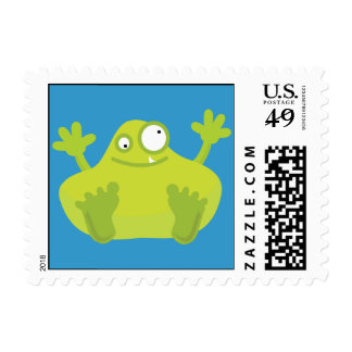 Cute Green Monster Postage Stamps (SMALL)