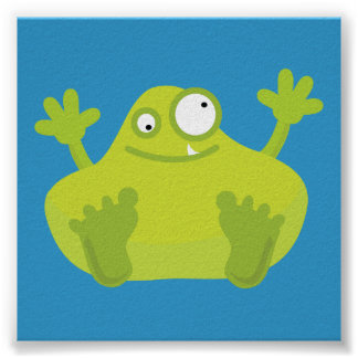 Cute Green Monster Poster
