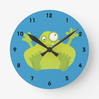 Cute Green Monster Round Clock