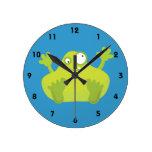 Cute Green Monster Round Wallclocks