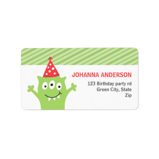 Cute green monster with party hat label