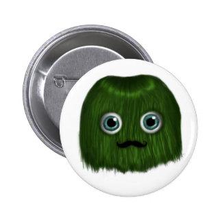 Cute Green Moustache Monster Badge/Button Button