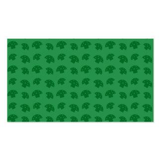 Cute green mushroom pattern business card templates