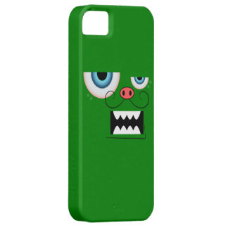 Cute Green Mustache Monster Emoticon iPhone 5 Cases