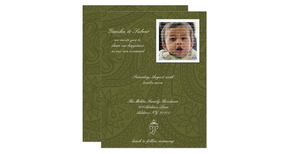 Cute Green Namkaran Baby Naming Invitations | Zazzle.com