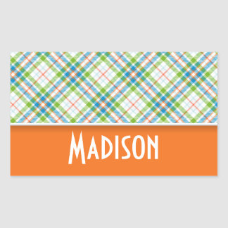 Cute Green, Orange Plaid Rectangular Sticker