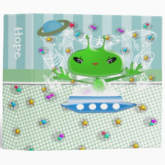 Cute Green Outer Space Aliens with Space Ship 3 Ring Binder