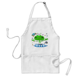 Cute Green Outer Space Aliens with Space Ship Adult Apron