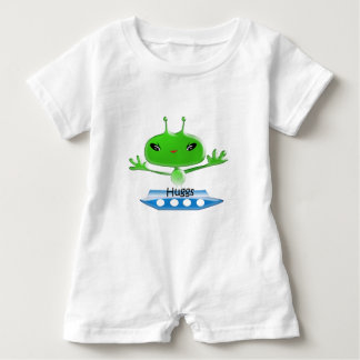 Cute Green Outer Space Aliens with Space Ship Baby Romper