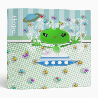 Cute Green Outer Space Aliens with Space Ship Binder