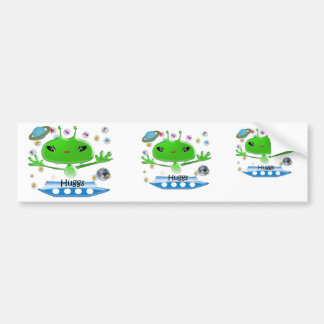 Cute Green Outer Space Aliens with Space Ship Bumper Sticker