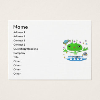 Cute Green Outer Space Aliens with Space Ship Business Card