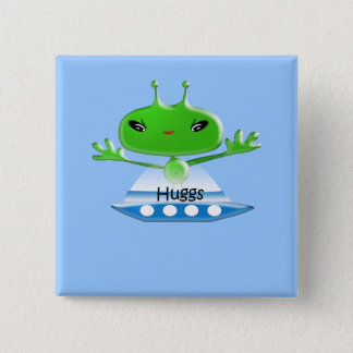 Cute Green Outer Space Aliens with Space Ship Button