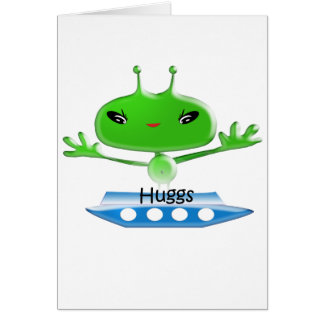 Cute Green Outer Space Aliens with Space Ship Card