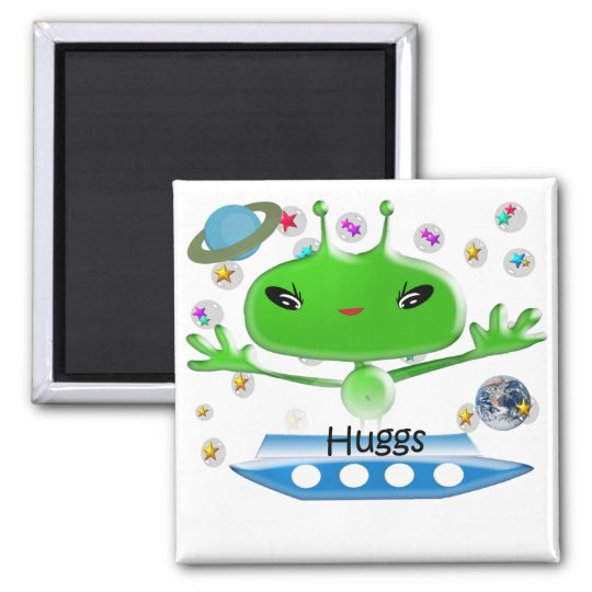 Cute Green Outer Space Aliens with Space Ship Magnet