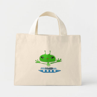 Cute Green Outer Space Aliens with Space Ship Mini Tote Bag