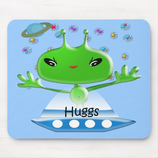 Cute Green Outer Space Aliens with Space Ship Mouse Pad