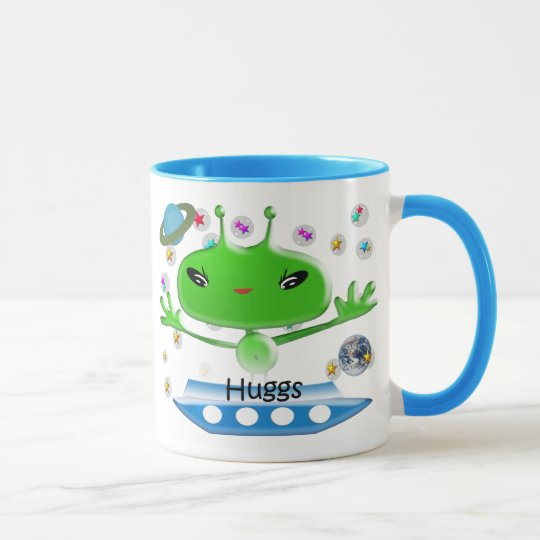 Cute Green Outer Space Aliens with Space Ship Mug