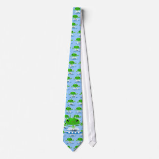 Cute Green Outer Space Aliens with Space Ship Neck Tie