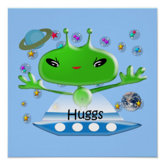 Cute Green Outer Space Aliens with Space Ship Poster