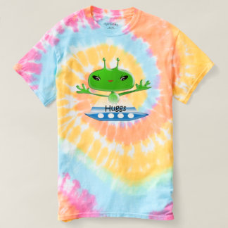 Cute Green Outer Space Aliens with Space Ship T-shirt