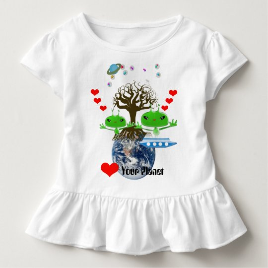Cute Green Outer Space Aliens with Space Ship Toddler T-shirt