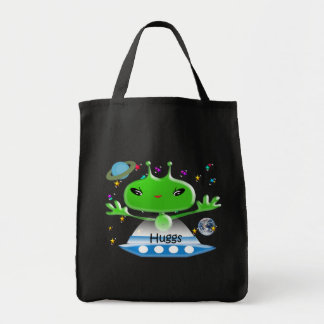 Cute Green Outer Space Aliens with Space Ship Tote Bag