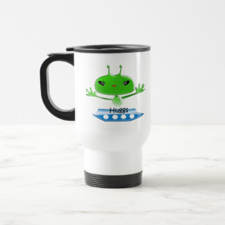 Cute Green Outer Space Aliens with Space Ship Travel Mug
