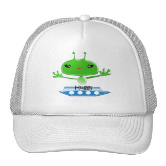 Cute Green Outer Space Aliens with Space Ship Trucker Hat