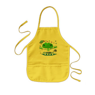 Cute Green Outer Space Aliens with Spaceship Kids' Apron
