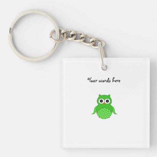 Cute green owl acrylic key chains