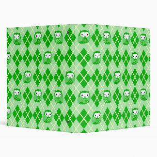 Cute Green Owl Argyle Pattern Binder