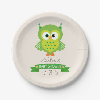 Cute Green Owl Baby Shower 7 Inch Paper Plate