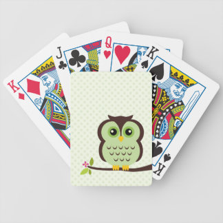 Cute Green Owl Bicycle Playing Cards