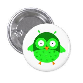 Cute Green Owl Button