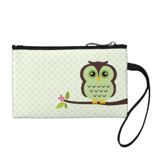 Cute Green Owl Change Purse